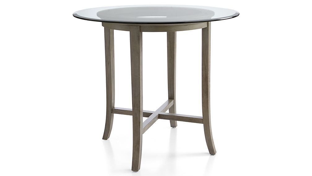 Halo grey round high dining table with 48 glass top for Glass top dining table next