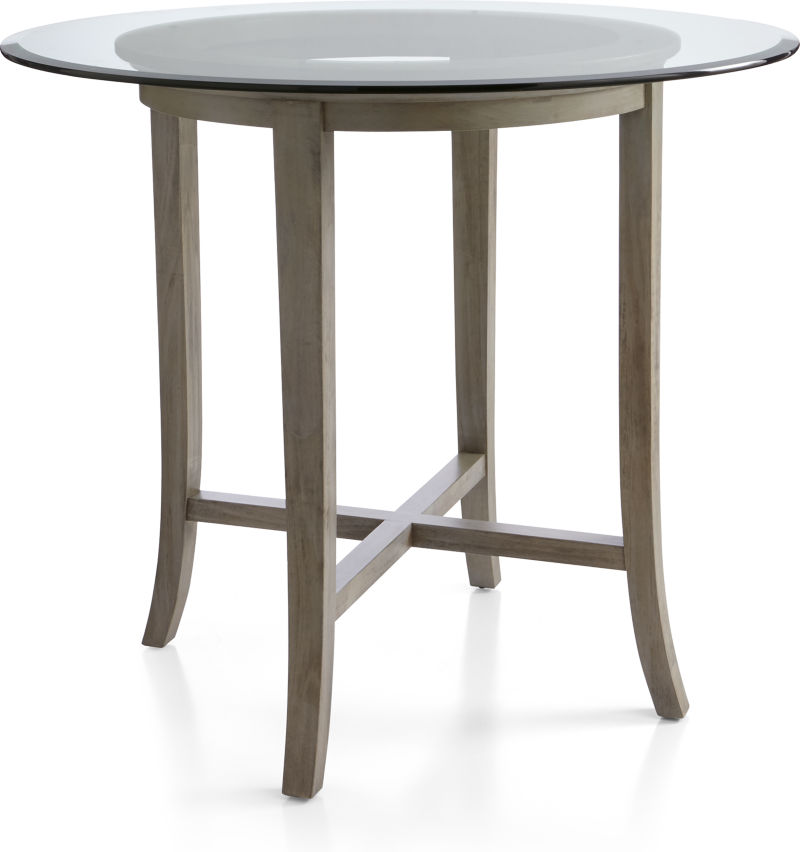 "Halo Grey Round High Dining Table with 48"" Glass Top"