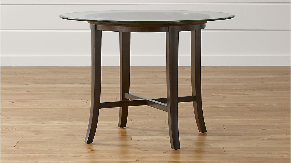 Halo Ebony Round Dining Table with 42quot Glass Top Crate  : HaloTableEbony42GlassSHS1516x9 from crateandbarrel.com size 1008 x 567 jpeg 59kB