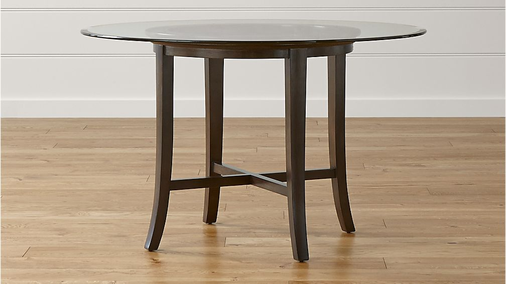 "Glass Wood Dining Table Round halo ebony round dining table with 48"" glass top 