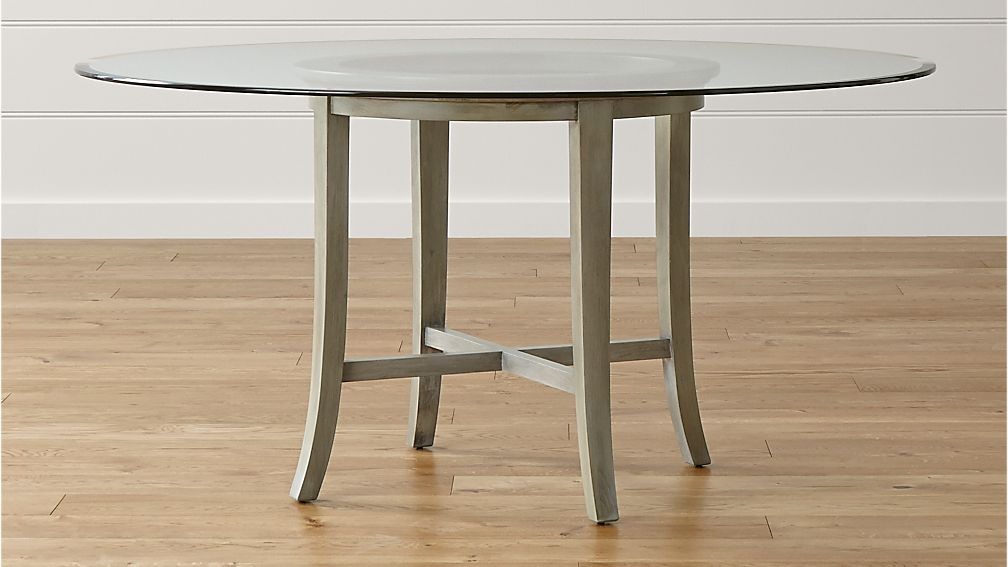 "Halo Grey Round Dining Table with 60"" Glass Top - Image 1 of 4"