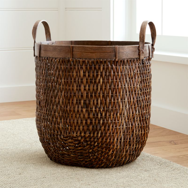 Halton Oval Rattan Basket Tall Reviews Crate And Barrel