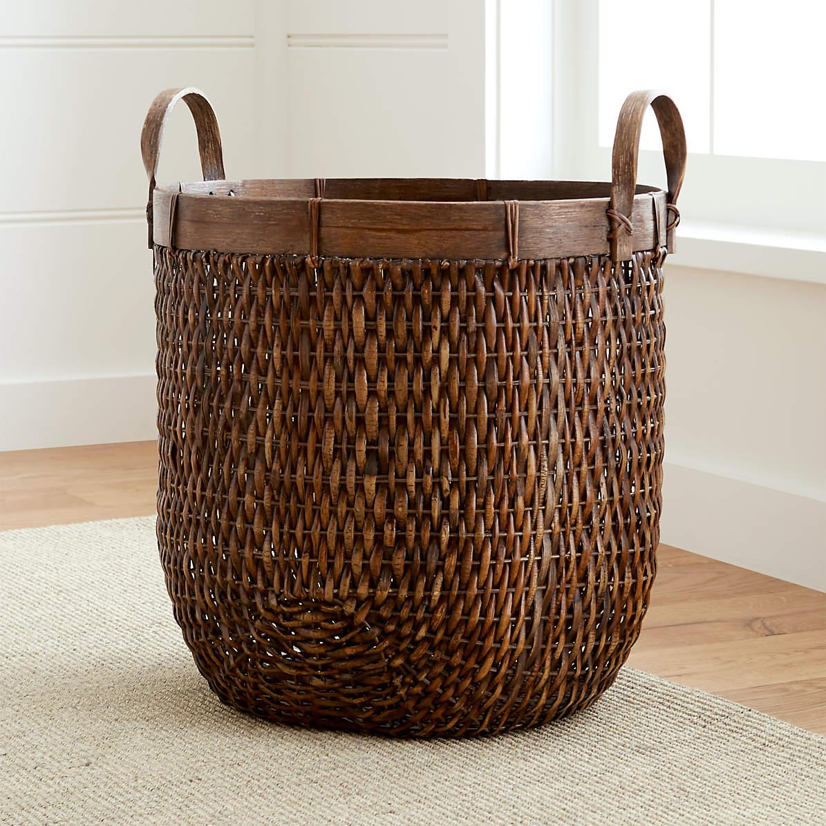 Halton Oval Rattan Basket Tall Reviews Crate And Barrel