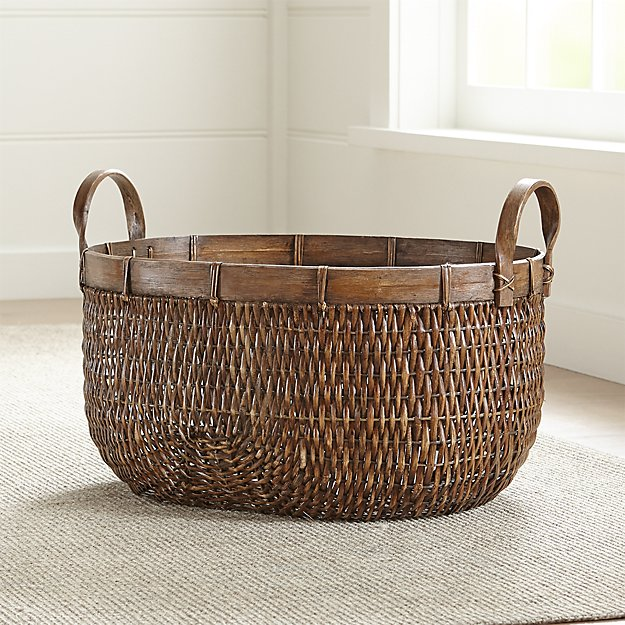 Halton Oval Rattan Low Basket - Image 1 of 8