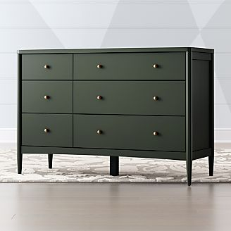 Kids Hampshire 6 Drawer Olive Green Dresser