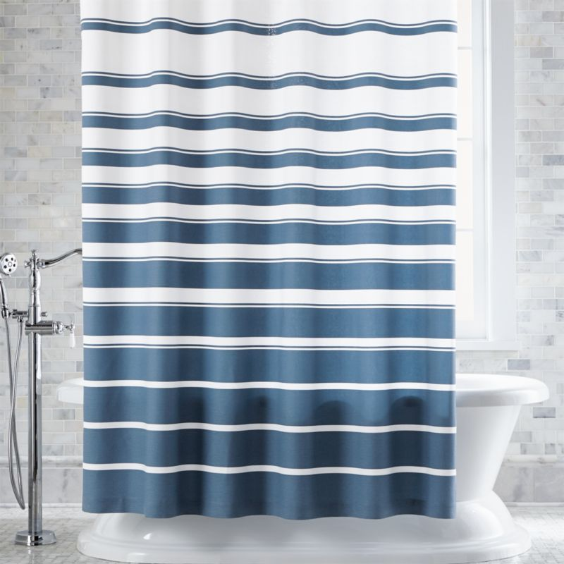 hampton bluewhite striped shower curtain