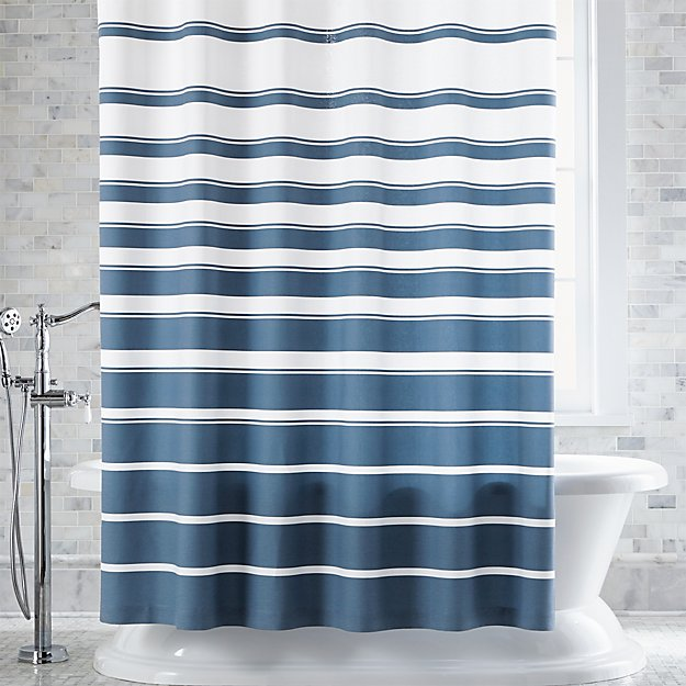 Shower Curtains crate and barrel shower curtains : Hampton Blue-White Striped Shower Curtain | Crate and Barrel