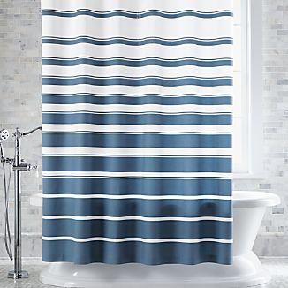 Hampton Blue-White Striped Shower Curtain
