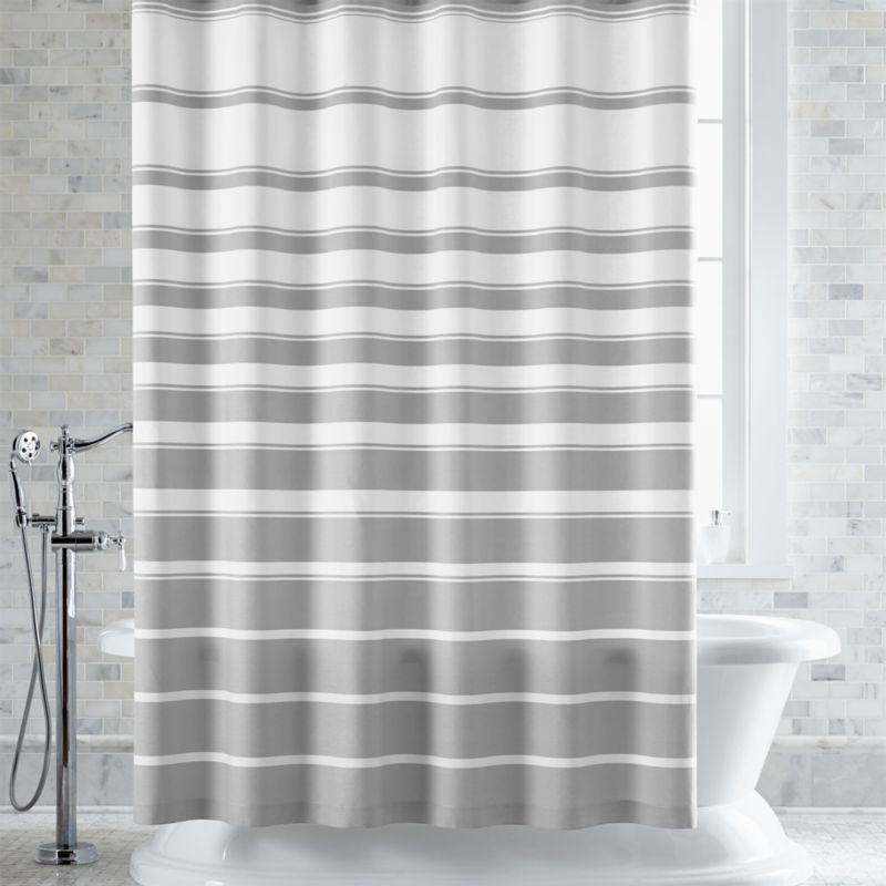 Hampton Stripe Grey Shower Curtain Curtains  Rings and Liners Crate Barrel
