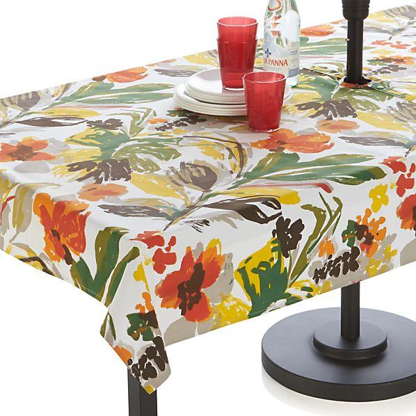 """Handpainted Floral 54""""x90"""" Umbrella Tablecloth"""
