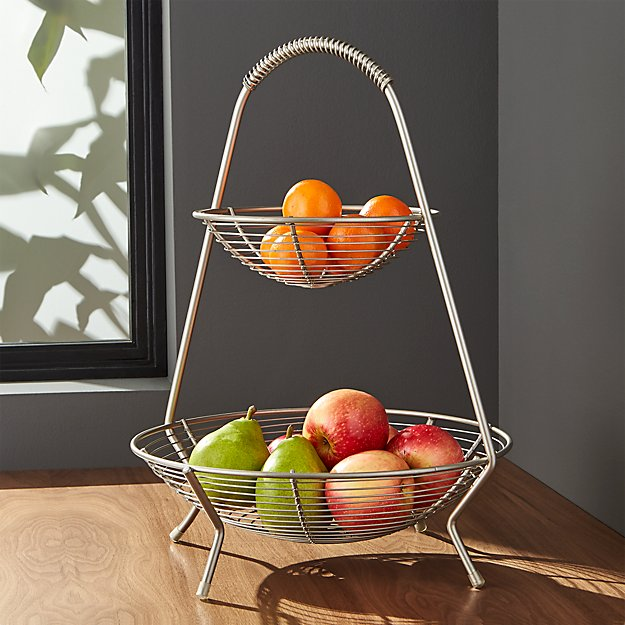 Handled 2-Tier Wire Fruit Basket | Crate and Barrel