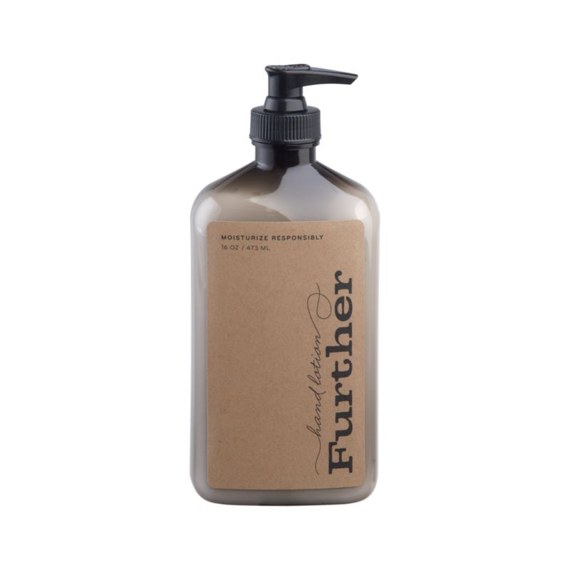 Essences of olive, bergamot and exotic grasses add unique fresh fragrance to this luxe moisturizing hand lotion crafted by Further, a small, family-run business in Southern California that manufactures its products through a waste-free process.<br /><br /><NEWTAG/><ul><li>Moisturizing lotion</li><li>Produced with waste-free process</li><li>Not tested on animals</li></ul>