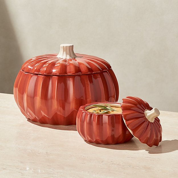 Handpainted Pumpkin Serve Bowl with Lid - Image 1 of 3