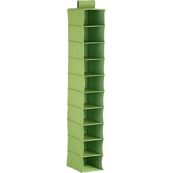 10-Section Hanging Green Shoe Bag