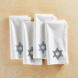 Embroidered Hanukkah Napkins, Set of 4