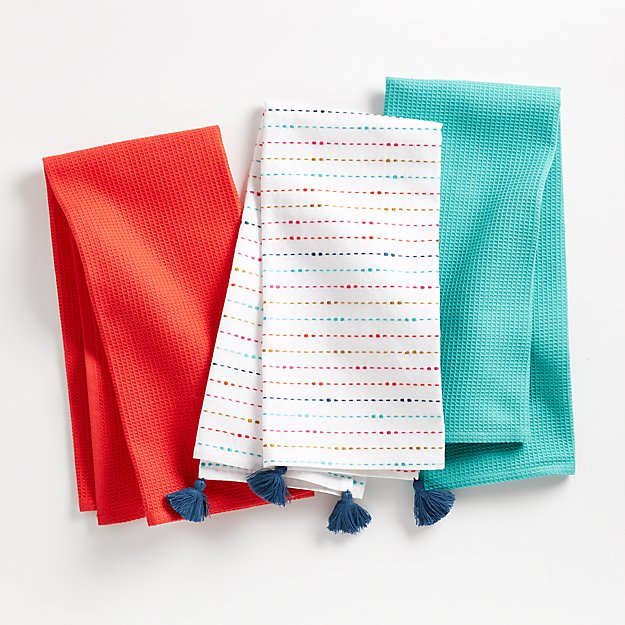 Happy Multicolor Dish Towels, Set of 3 - Image 1 of 4