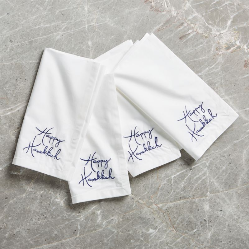Happy Hanukkah Embroidered Napkin, Set of 4