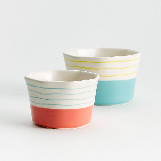 Set of 2, Happy Ceramic Ramekins - Image 1 of 3