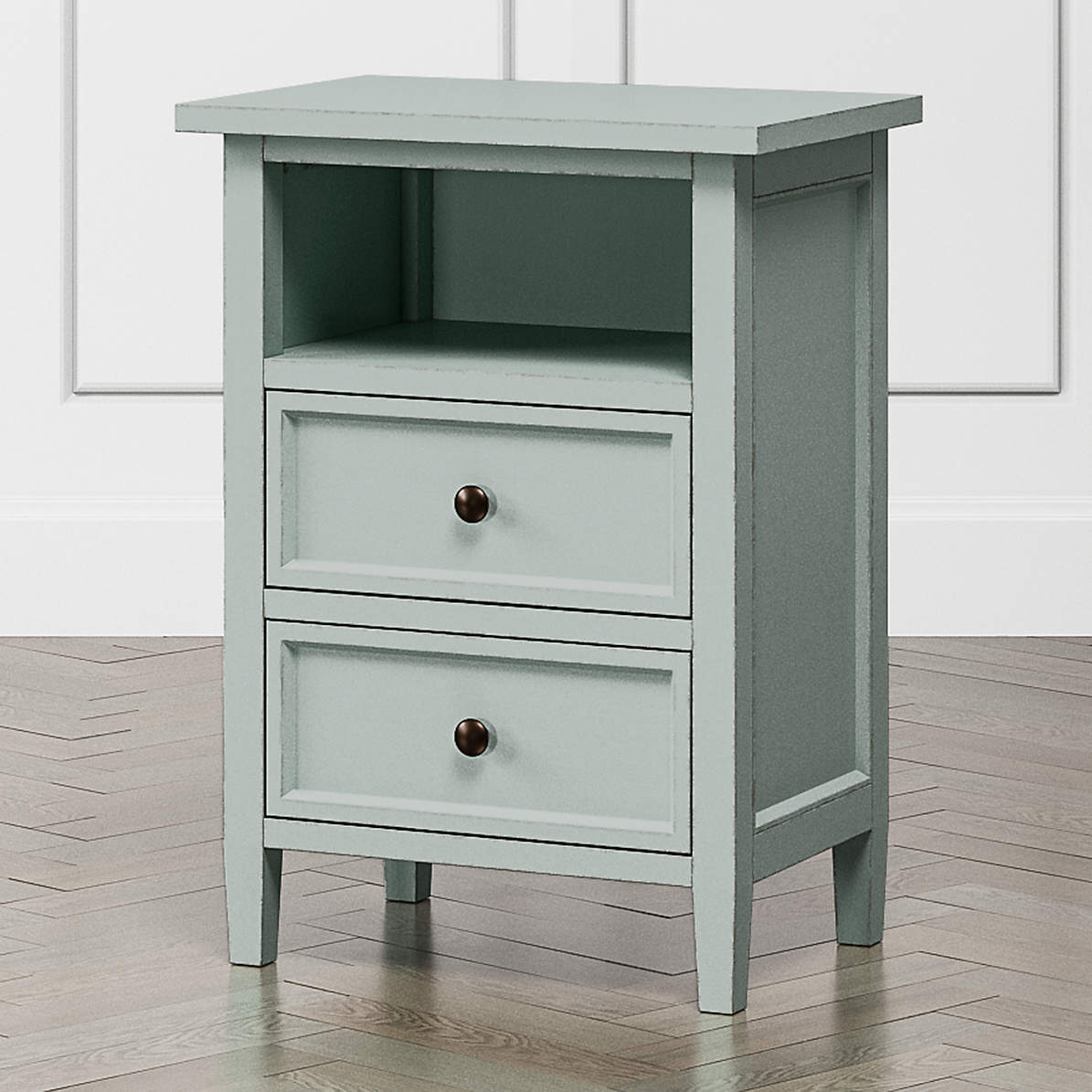 Harbor Blue Grey 2 Drawer Nightstand Reviews Crate And Barrel Canada