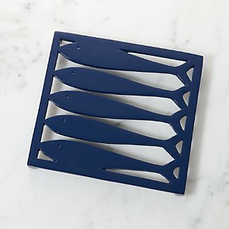 Harborside Dark Blue Fish Trivet