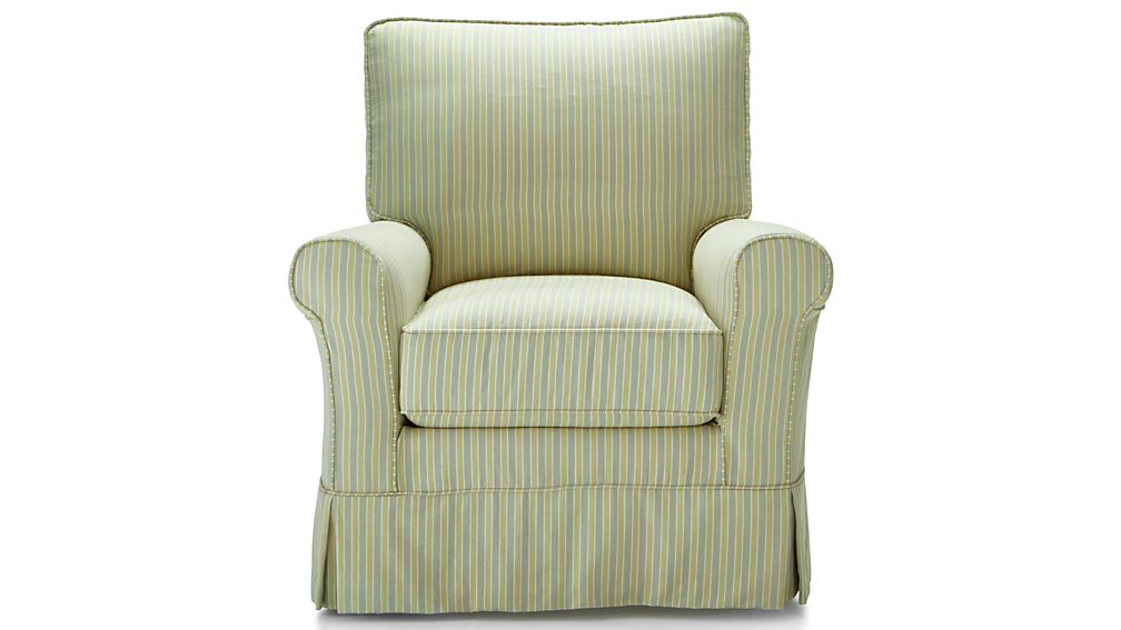 Harborside Stripe Slipcovered Swivel Glider