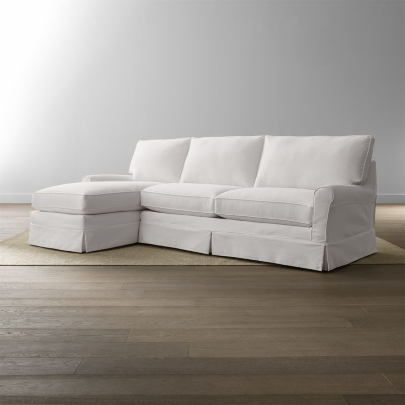 Harborside Slipcovered 2Piece Sectional Reviews Crate and Barrel