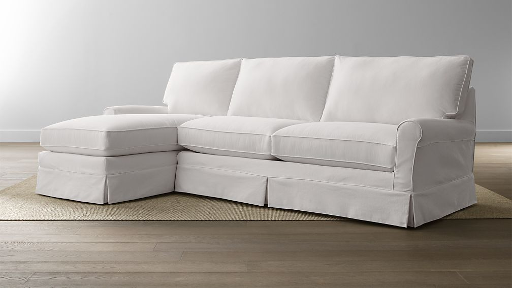 Harborside Slipcovered 2-Piece Sectional | Crate and Barrel