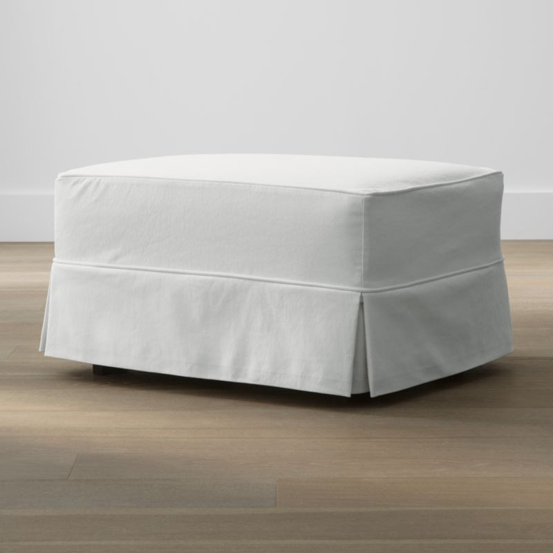 Keep your Harborside ottoman looking as fresh as the day you brought it home with this convenient, carefree replacement slipcover. Fitted cotton-blend slipcover is tailored with crisp inverted kick pleats and self-welting to keep it neatly in place. Harborside Ottoman Replacement Slipcover is a Crate and Barrel exclusive.<br /><br /><NEWTAG/><ul><li>Removable slipcover is machine washable</li><li>Self-welting</li><li>Made in North Carolina, USA</li></ul>