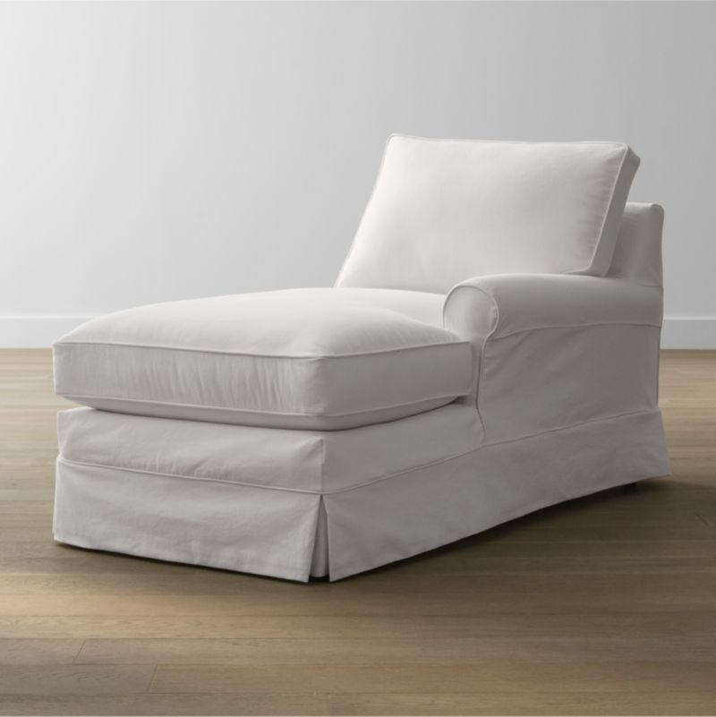Keep your Harborside sectional right arm chaise looking as fresh as the day you brought it home with this convenient, carefree replacement slipcover. Fitted cotton-blend slipcover is tailored with crisp inverted kick pleats and self-welting to keep it neatly in place. Harborside Right Arm Chaise Replacement Slipcover is a Crate and Barrel exclusive.<br /><br /><NEWTAG/><ul><li>Removable slipcover is machine washable</li><li>Self-welting</li><li>Made in North Carolina, USA</li></ul>