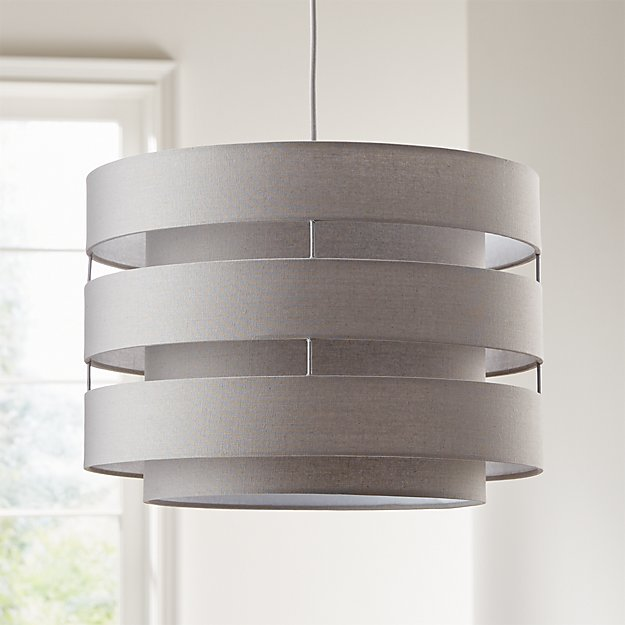 Harlow Grey Drum Pendant Light - Image 1 of 6