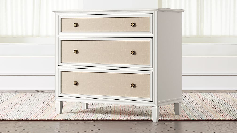 Harmony White Upholstered Dresser + Reviews | Crate and Barrel