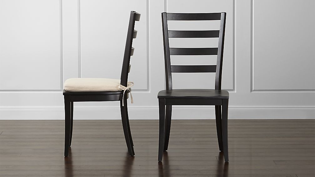 Harper Black Ladder Back Wood Dining Chair and Sand Cushion - Image 1 of 6