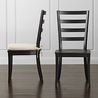 harper black ladder back wood dining chair and sand cushion - Black Dining Room Chairs