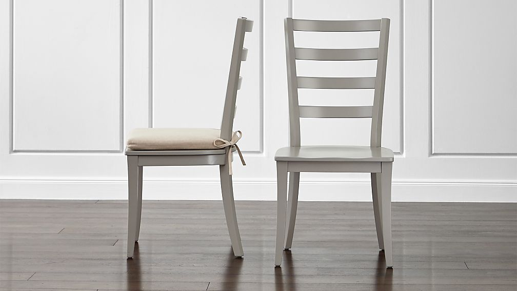 Harper Dove Grey Ladder Back Dining Chair And Sand Cushion | Crate And  Barrel