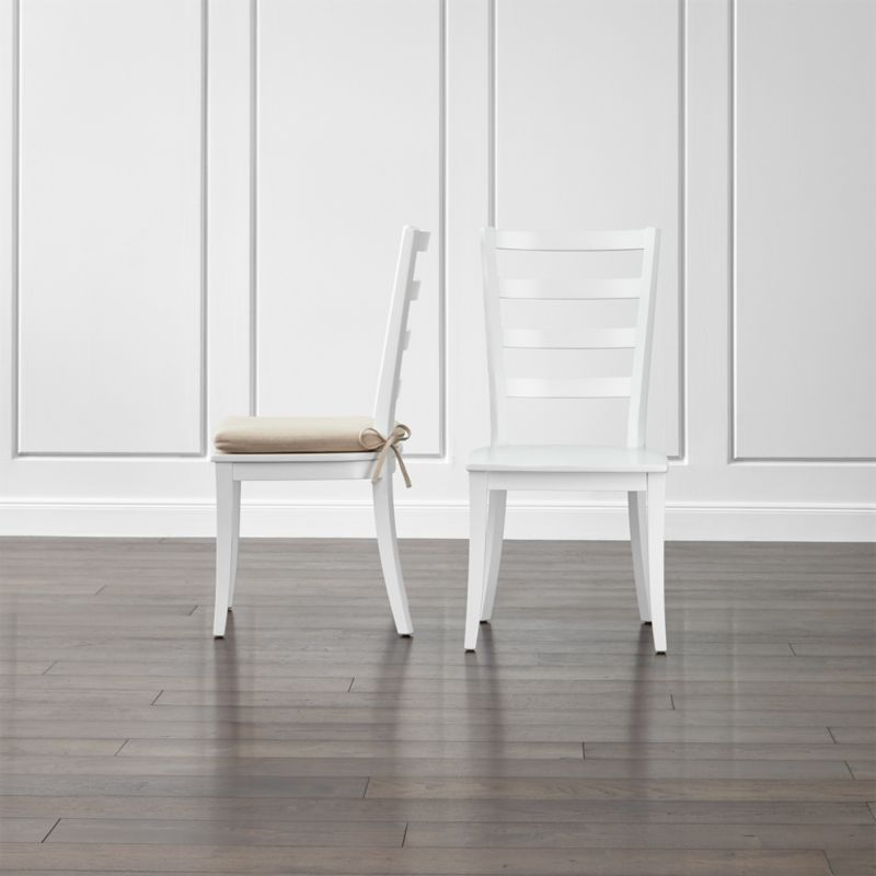 Harper White Ladder Back Dining Chair and Sand Cushion Crate and