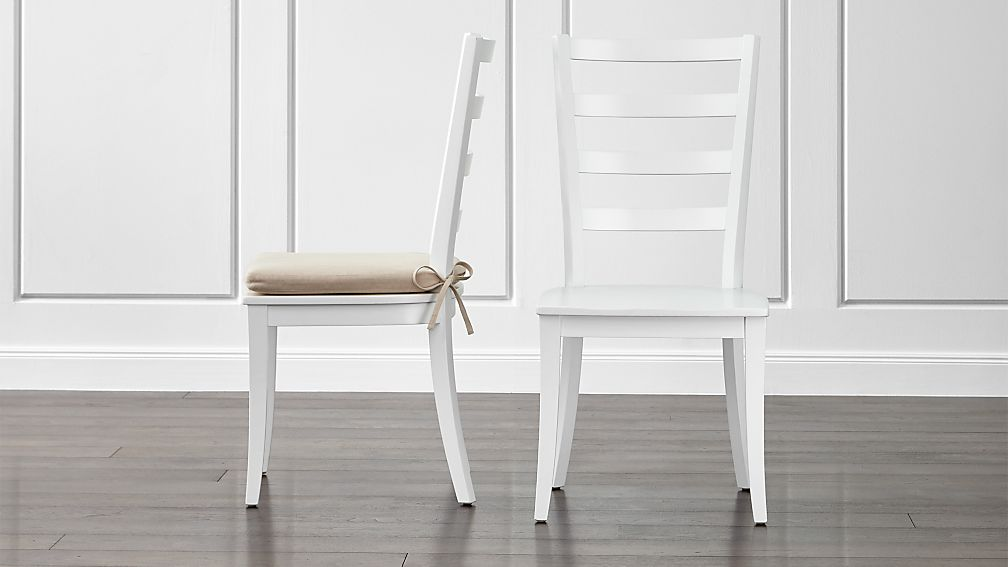 white wood dining chairs Harper White Ladder Back Dining Chair and Sand Cushion | Crate and  white wood dining chairs