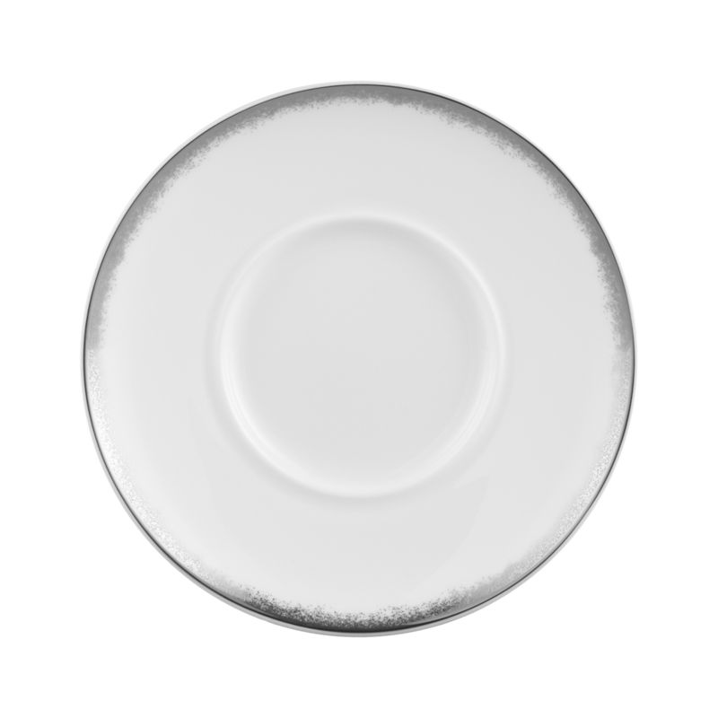 Simple and sophisticated. Clean contemporary coupe shape in gleaming white gets an elegant accent of feathered platinum around its rim. Bone china is highly durable and chip- and stain-resistant.<br /><br /><strong>Please note:</strong> This saucer is discontinued. When our current inventory is sold out, it is unlikely we will be able to obtain more.<br /><br /><NEWTAG/><ul><li>Bone china</li><li>Coupe shapes</li><li>Platinum rims</li><li>Dishwasher-safe; hand wash for longer life</li><li>Made in Japan</li></ul>