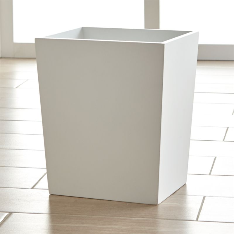 Harper white bathroom trash can crate and barrel for Marble bathroom bin