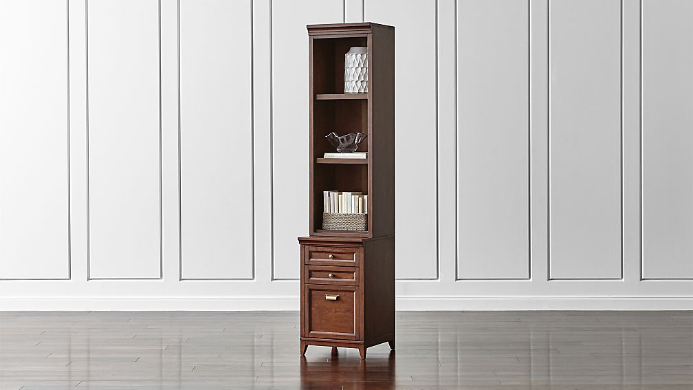 "Harrison 18"" Cognac Bookcase with Filing Cabinet Base"