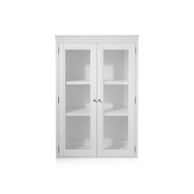 """Harrison 36"""" White Hutch with Glass Doors"""