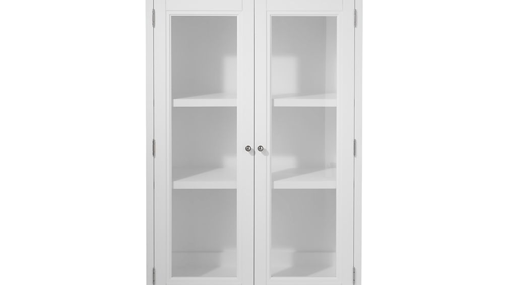 "Harrison 36"" White Hutch with Glass Doors"