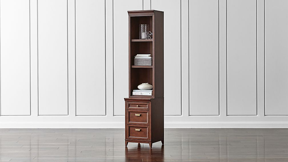"""Harrison 18"""" Cognac Bookcase with 3-Drawer Cabinet Base"""