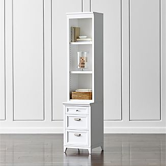 "Harrison 18"" White Bookcase with 3-Drawer Cabinet Base"