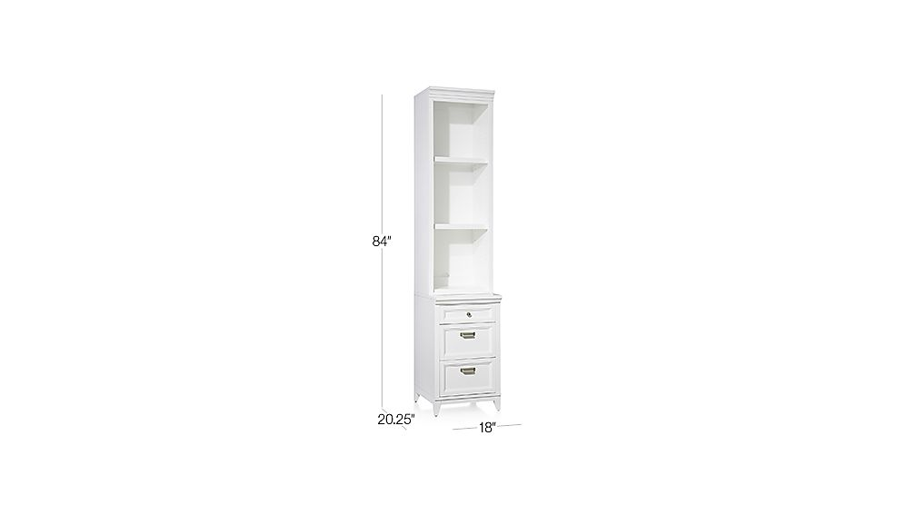 Harrison 18 Quot White Bookcase With 3 Drawer Cabinet Base