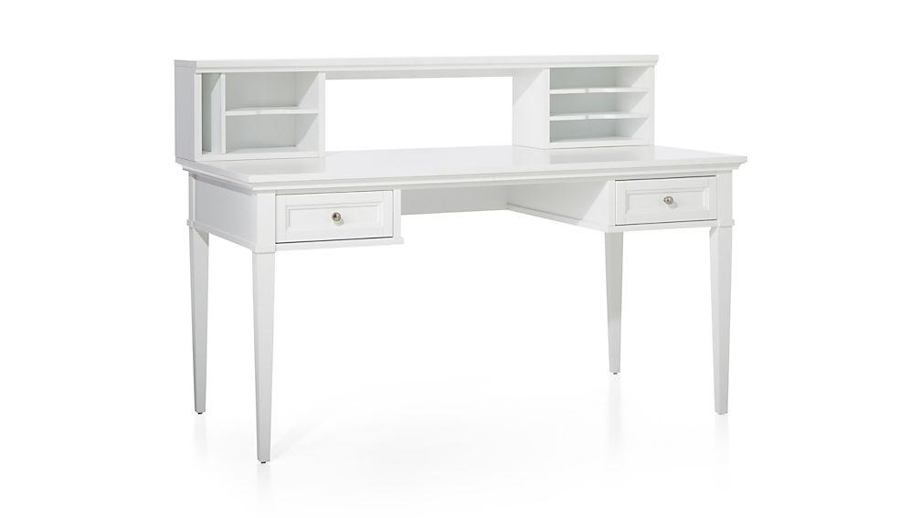 """Harrison White 60"""" Desk with Hutch"""