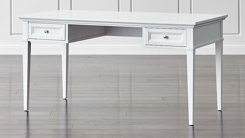 Harrison 60 White Desk With Drawers Crate And Barrel