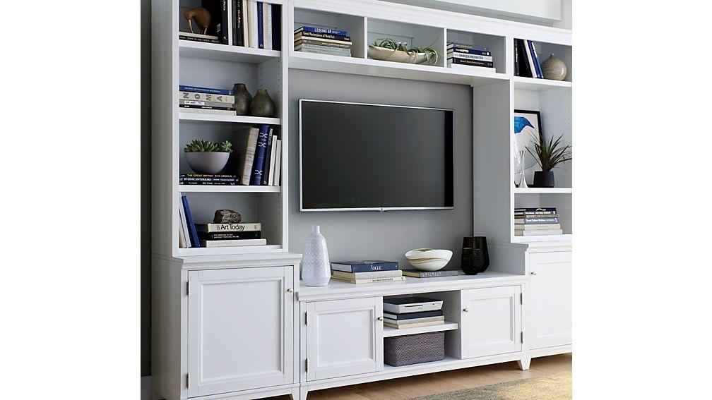 Harrison 6-Piece White Entertainment Center/Open Bookcases