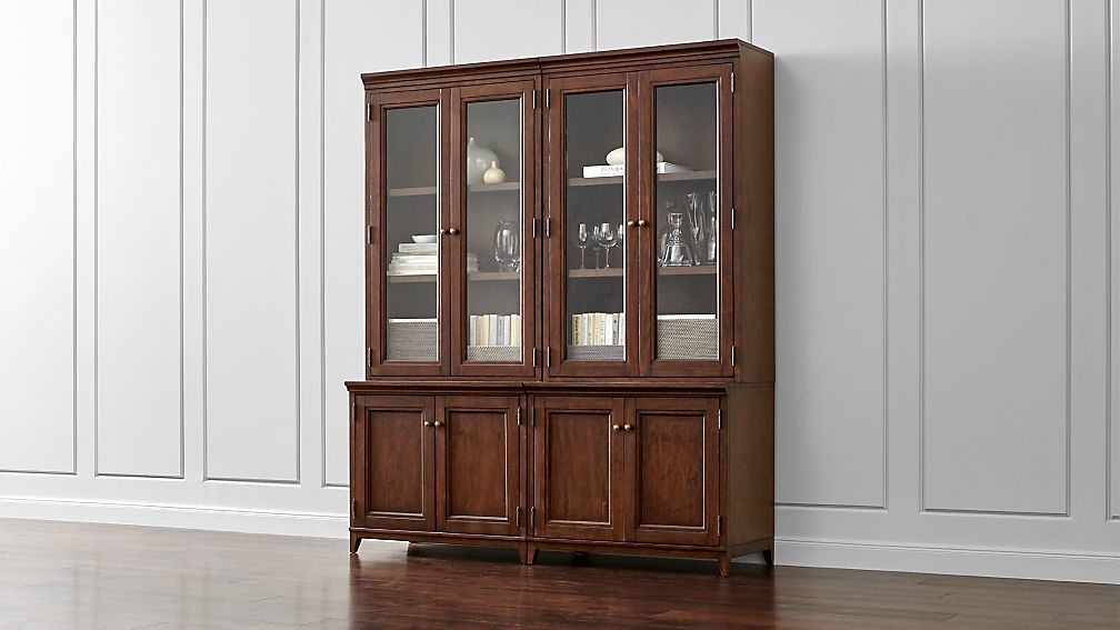 Harrison 4-pc Cognac Modular Wall Unit/Glass Doors 72""