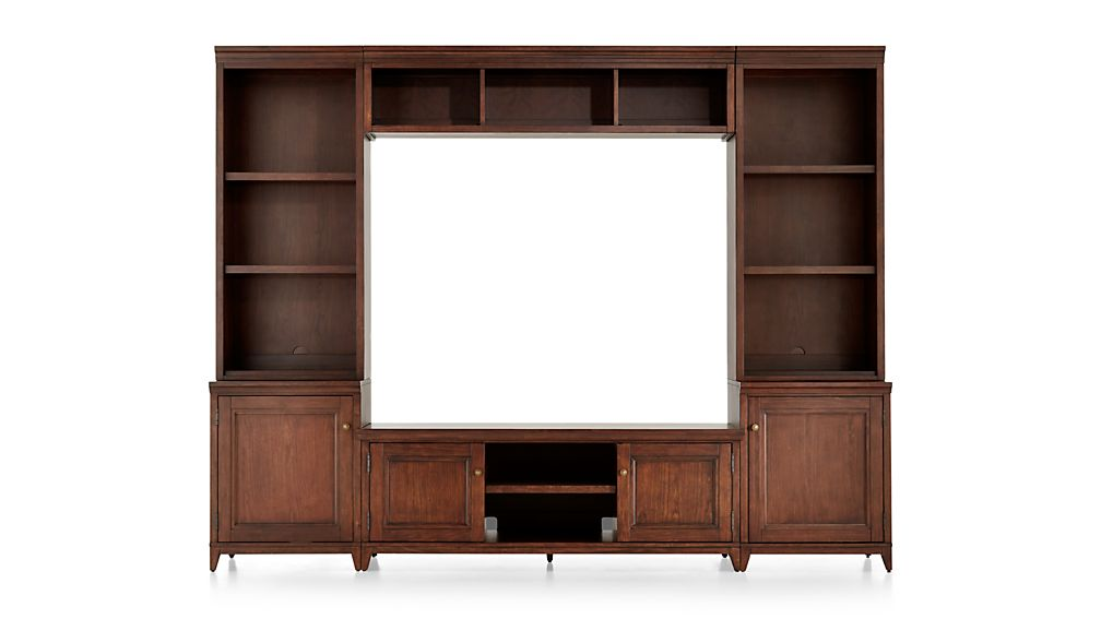 Harrison 6-pc Cognac Entertainment Center/Open Bookcases