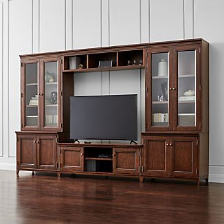 Harrison 6-pc Cognac Entertainment Center/Glass Doors